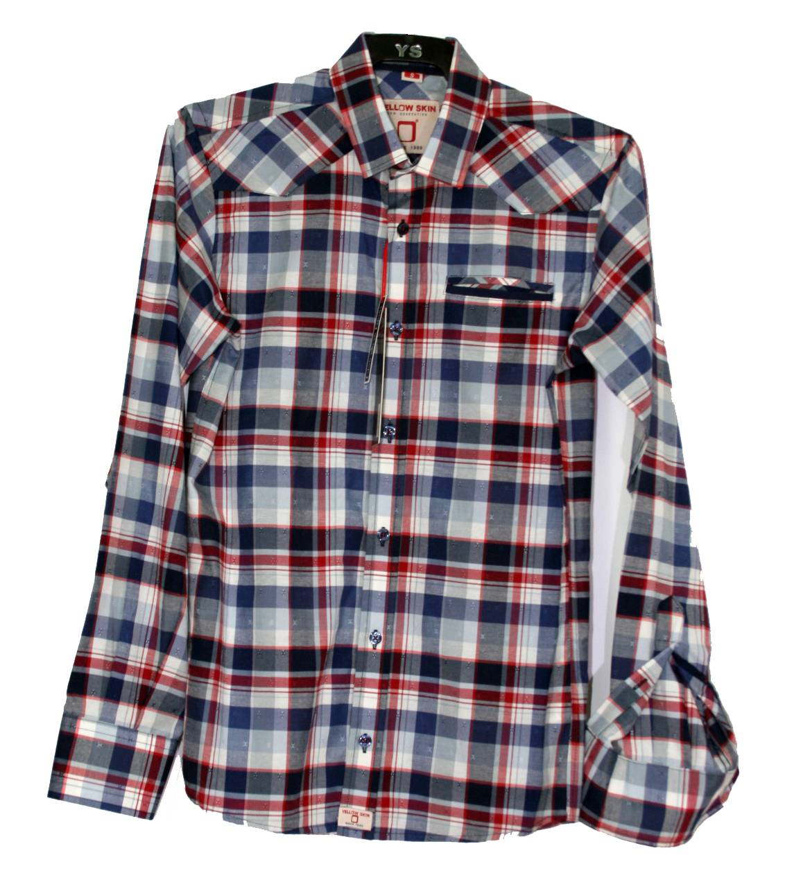 camisa-azul-cuadros-manga-larga
